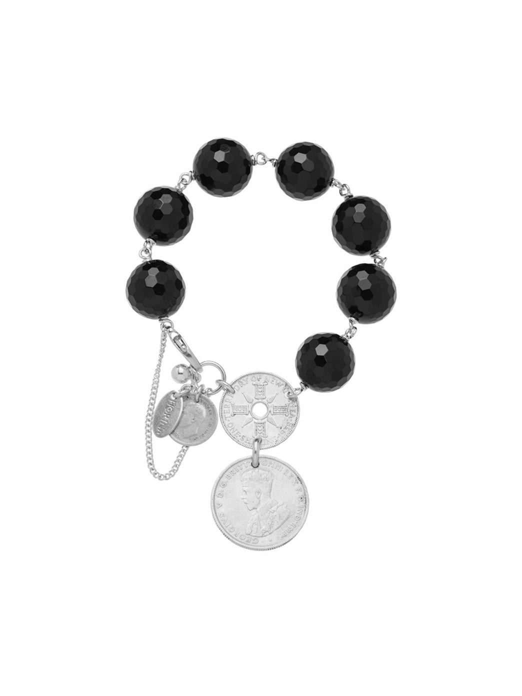 Fiorina Jewellery Double Coin Bracelet Black Onyx