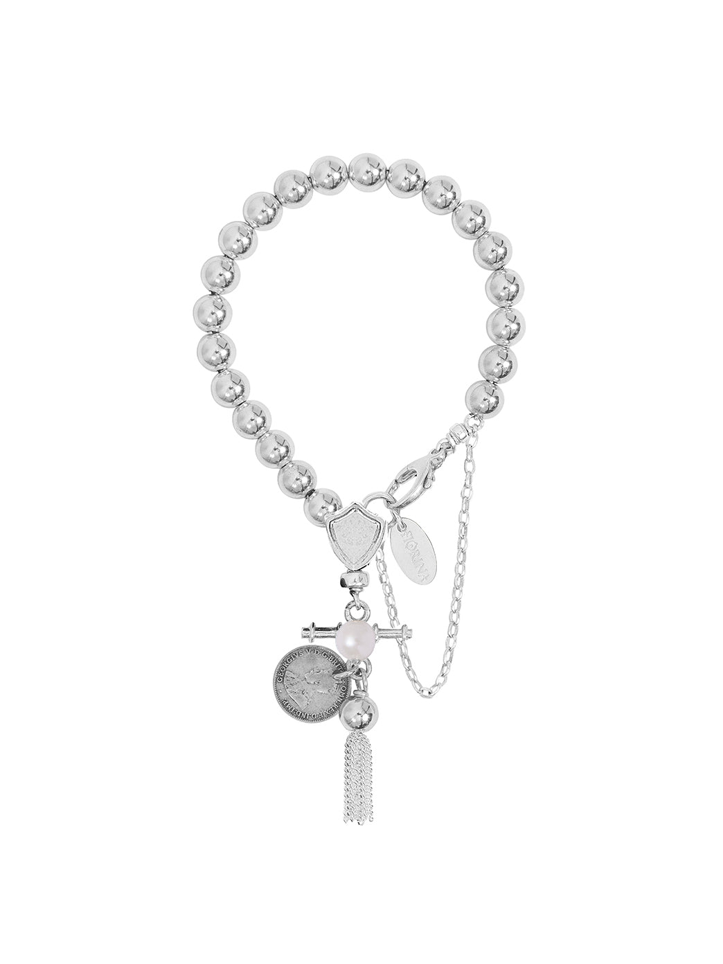Komboloy Bracelet with Shield and Tassel 8mm Pearl