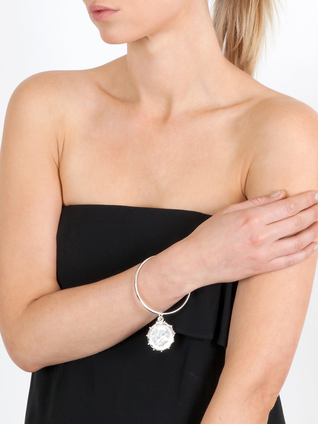Fiorina Jewellery Laura Bangle with Silver Encased Coin Model