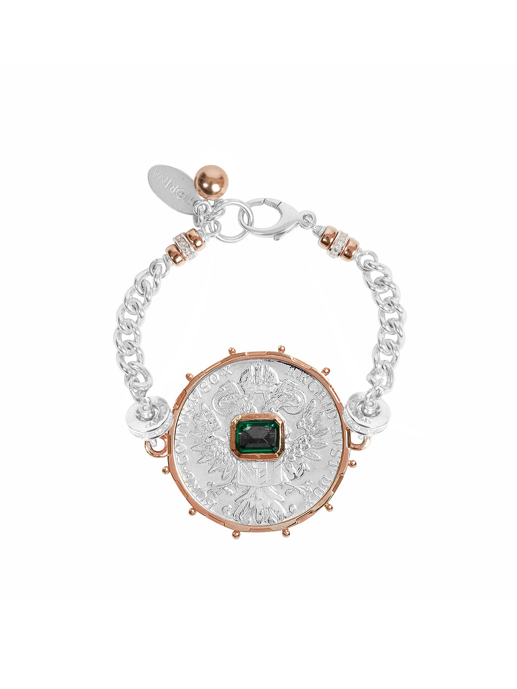Fiorina Jewellery Monster Jewel Gem Bracelet Emerald and Rose Gold
