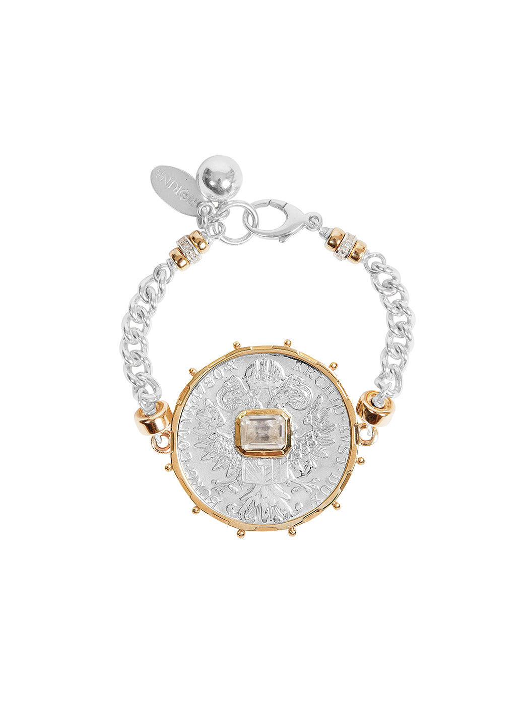 Fiorina Jewellery Monster Jewel Gem Bracelet White Sapphire and Yellow Gold