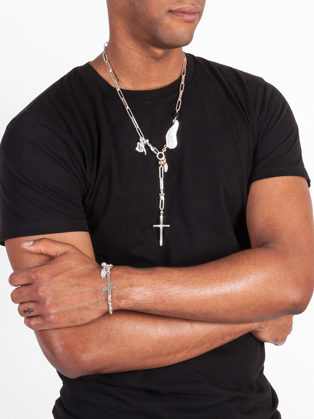 Fiorina Jewellery Mens D' Angelo Necklace Side View