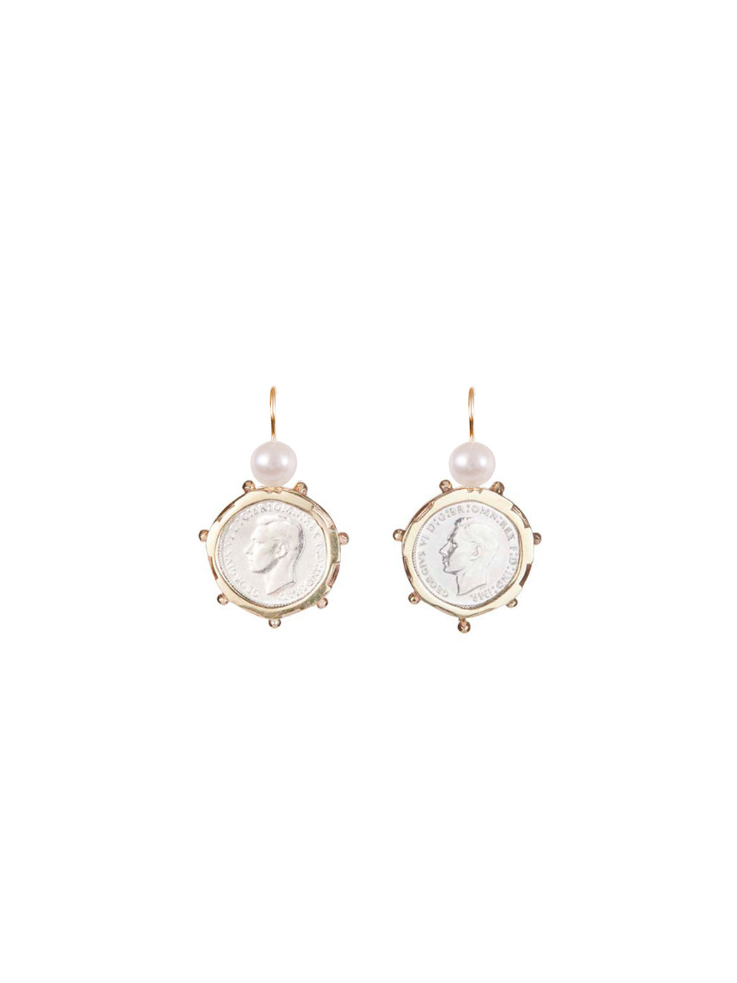 Fiorina Jewellery Gold Encased 3p Coin Earrings Pearl Highlights