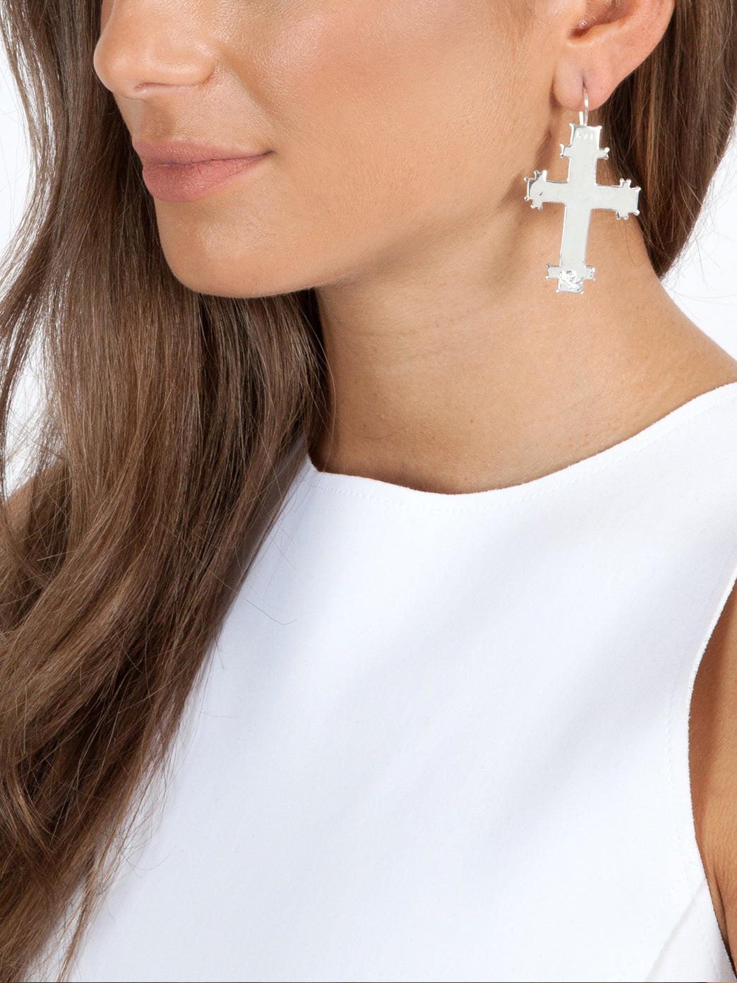 Fiorina Jewellery Byzantine Cross Earrings Model