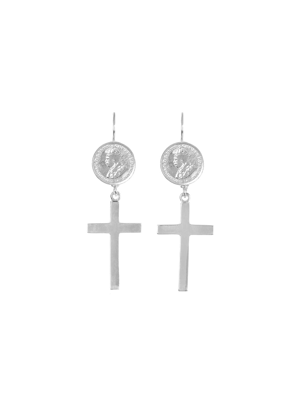 Fiorina Jewellery Coin Cross Earrings