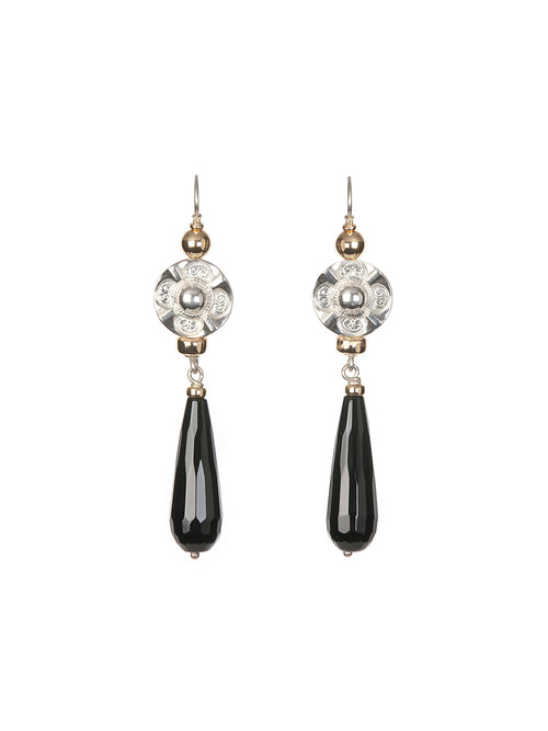 Fiorina Jewellery Deco Drop Earrings Black Onyx