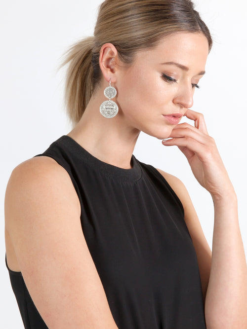 Fiorina Jewellery Double Coin Earrings Model