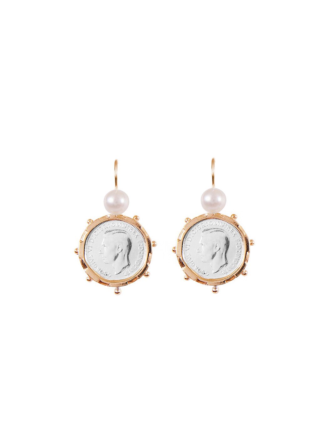 Fiorina Jewellery Gold Encased 6P Coin Earrings Pearl Highlights