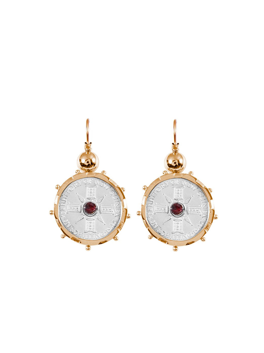 Fiorina Jewellery Gold Encased PNG Coin Earrings Gold & Garnet