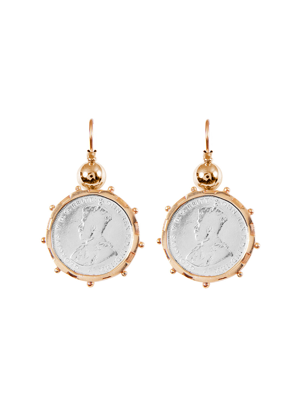 Fiorina Jewellery Gold Encased Shilling Coin Earrings Gold Highlights