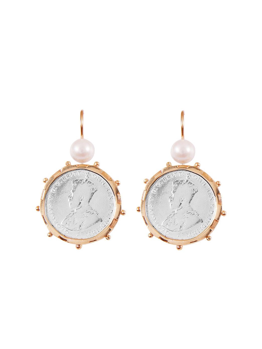 Fiorina Jewellery Gold Encased Shilling Coin Earrings Pearl Highlights