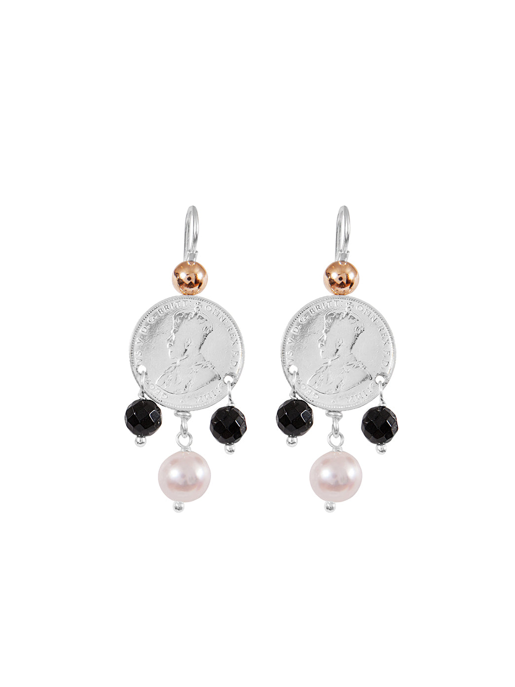 Fiorina Jewellery Mid Coin 3 Drop Earrings Black Onyx