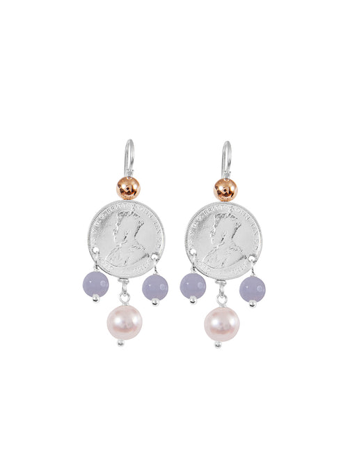 Fiorina Jewellery Mid Coin 3 Drop Earrings Chalcedony