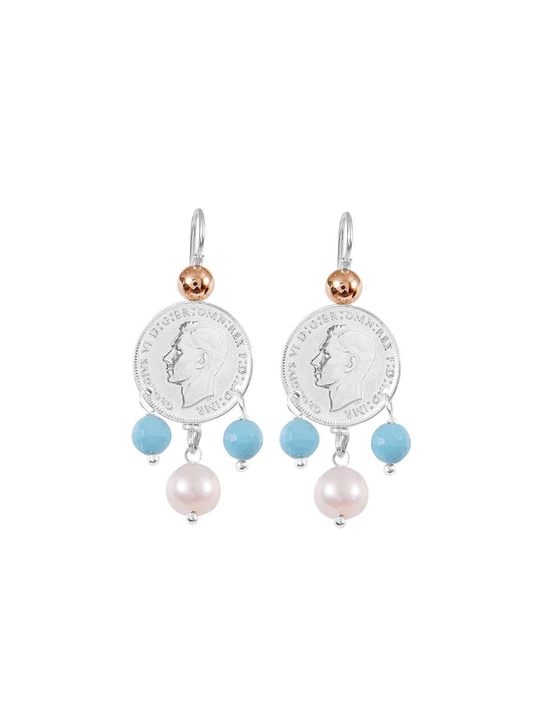 Fiorina Jewellery Mid Coin 3 Drop Earrings Turquoise