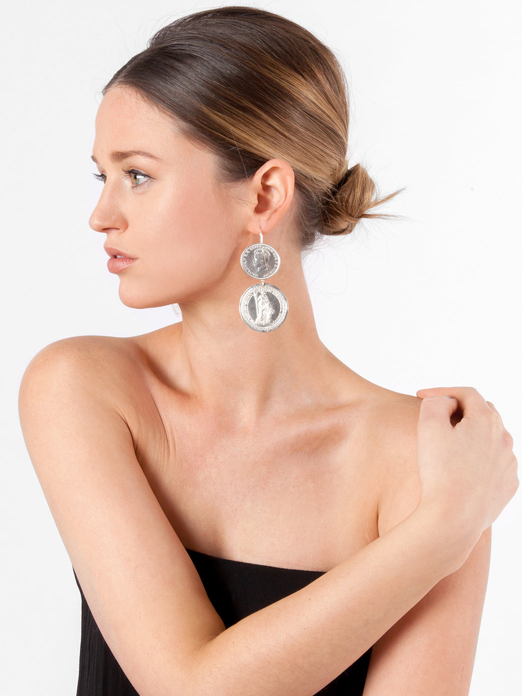 Fiorina Jewellery Monster Double Coin Earrings Model Side View
