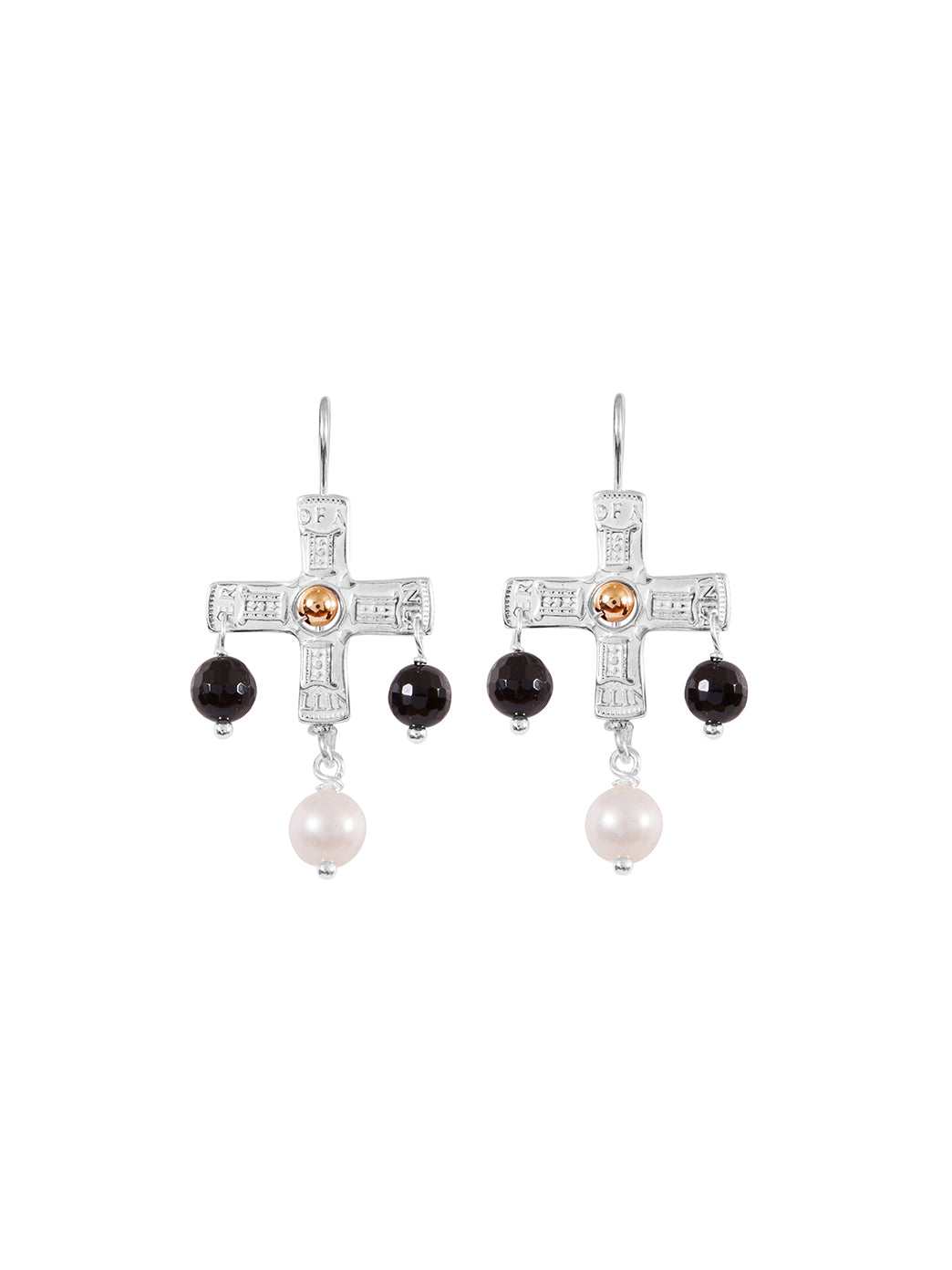 Fiorina Jewellery PNG Cross Earrings Black Onyx & Gold