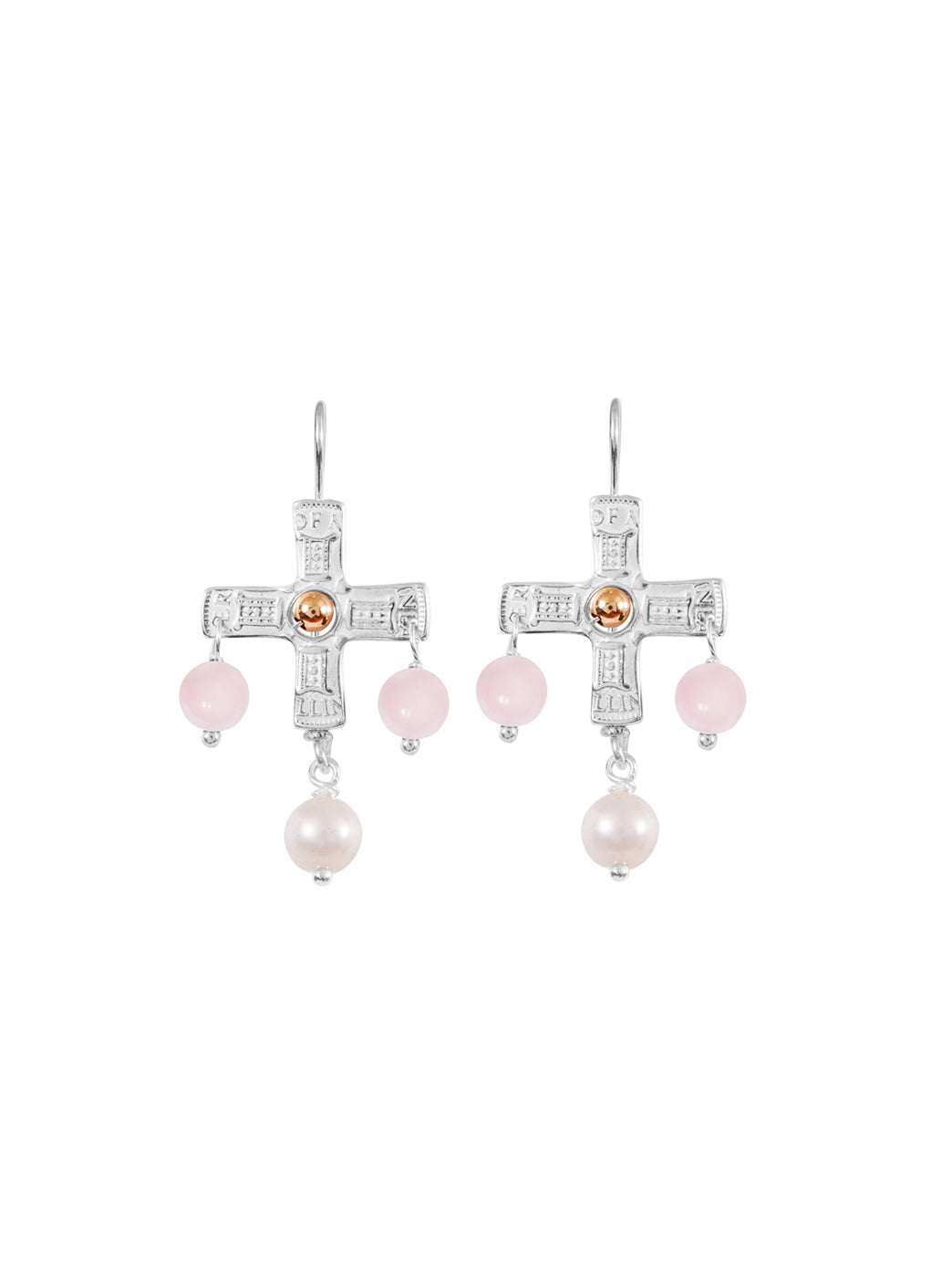 Fiorina Jewellery PNG Cross Earrings Pink Opal & Gold