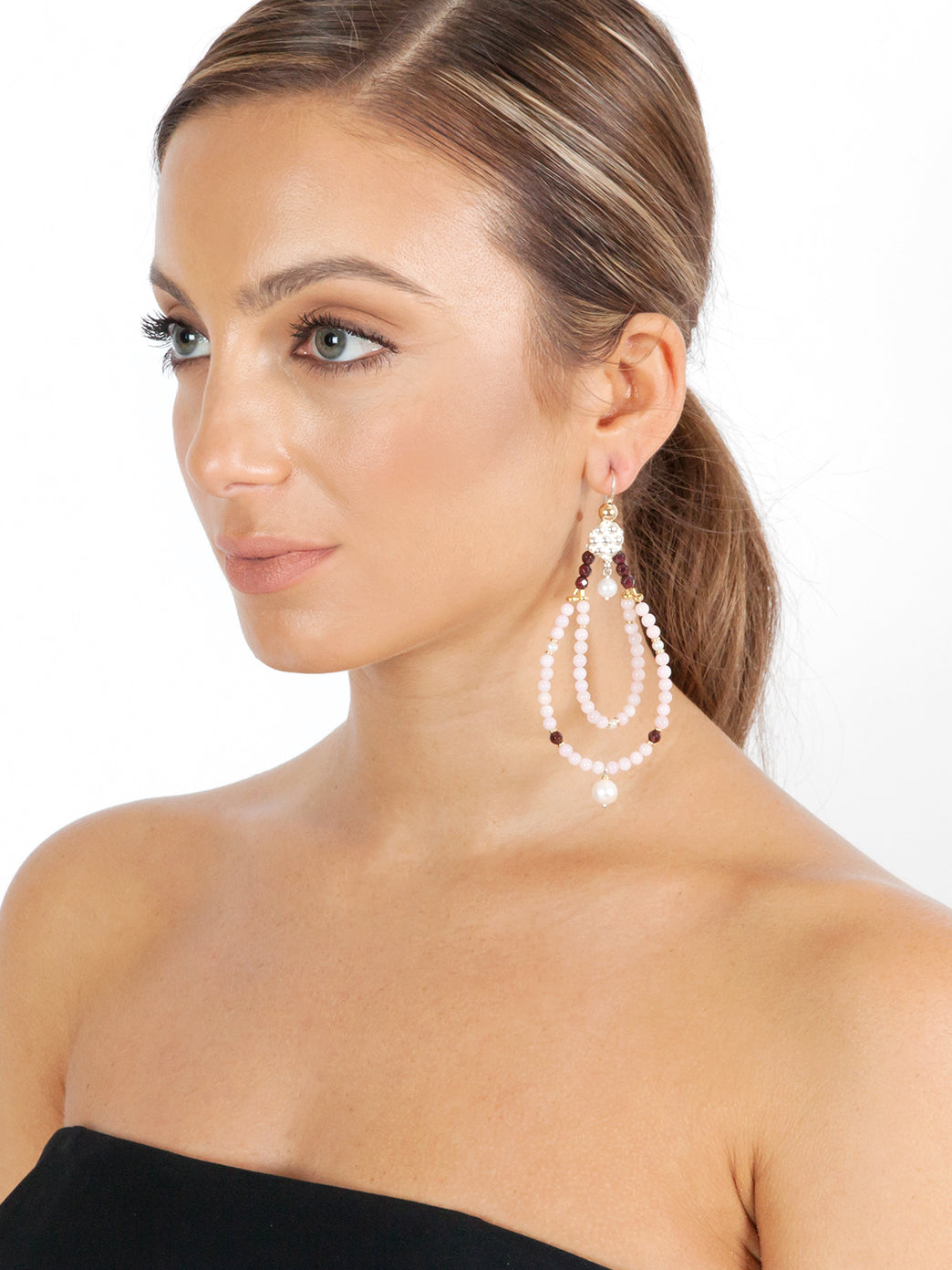 Fiorina Jewellery Rahini Earrings Pink Opal Model