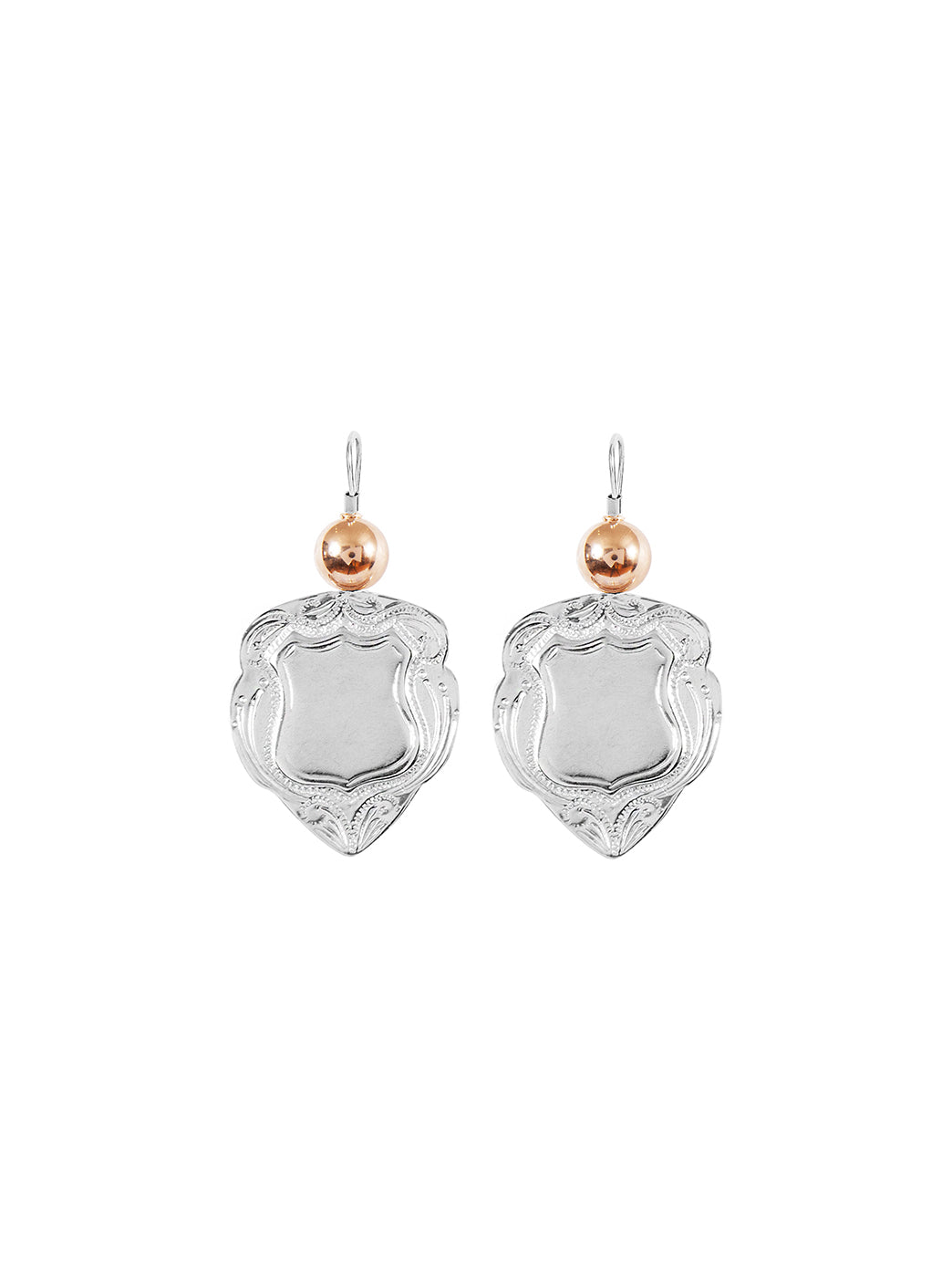 Fiorina Jewellery Shield Earrings Medium Gold Highlights