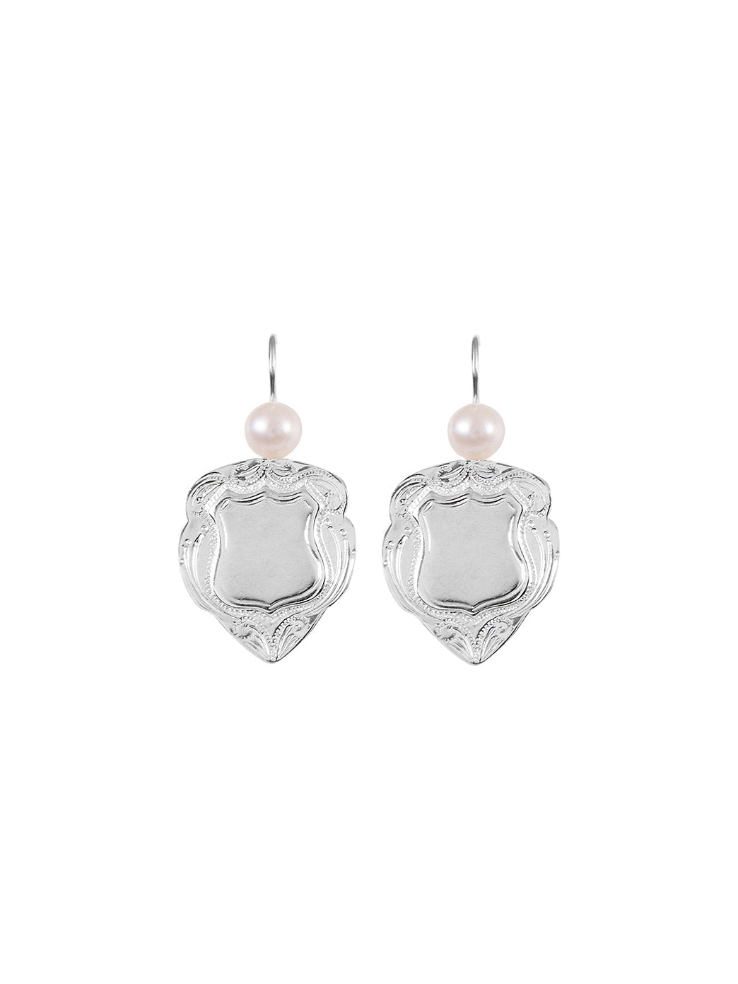 Fiorina Jewellery Shield Earrings Large White Pearl Highlights