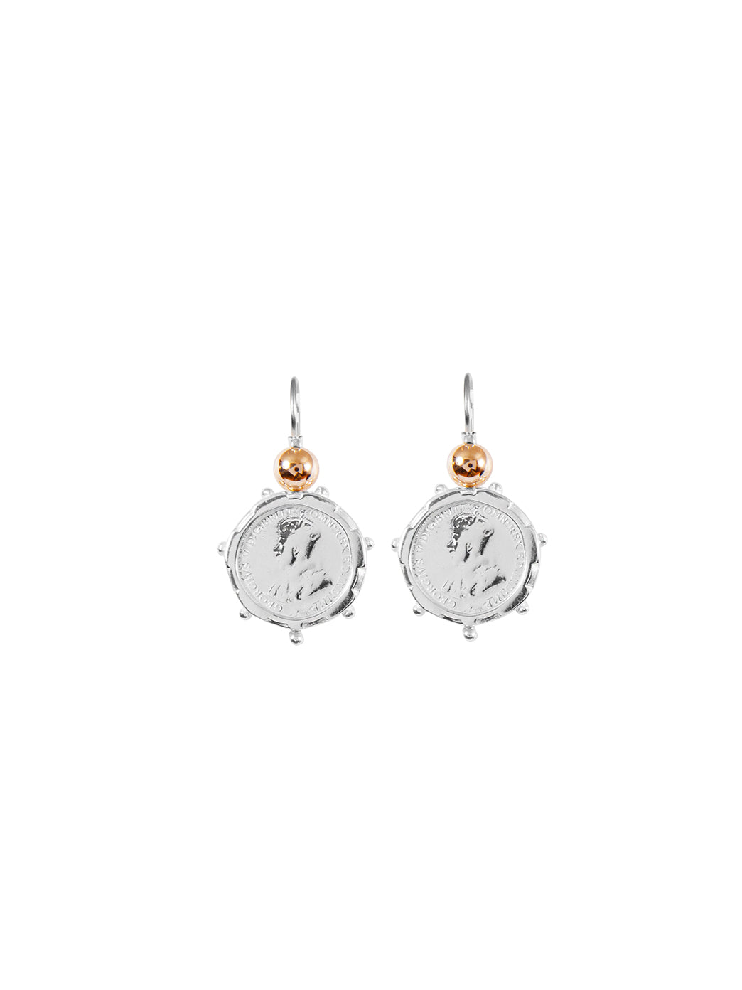 Fiorina Jewellery Silver Encased 3P Coin Earrings Gold Highlights
