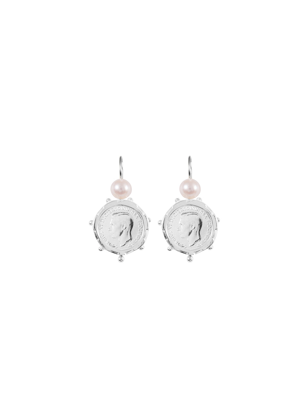 Fiorina Jewellery Silver Encased 3P Coin Earrings Pearl Highlights