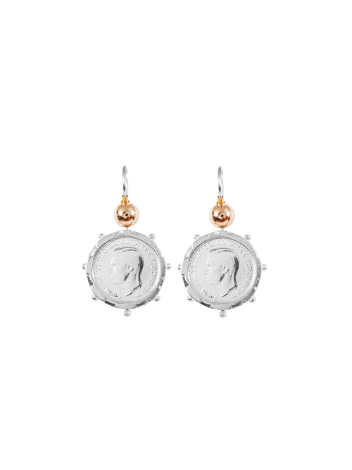Fiorina Jewellery Silver Encased Coin 6P Earrings Gold Highlights