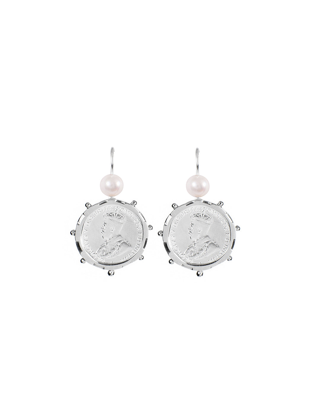 Fiorina Jewellery Silver Encased Coin 6P Earrings Pearl Highlights
