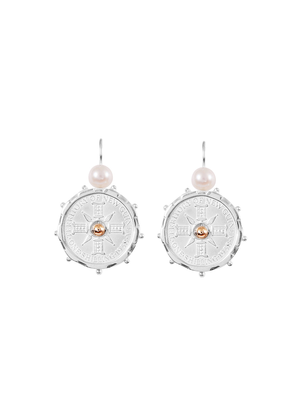 Fiorina Jewellery Silver Encased PNG Earrings Pearl & Gold