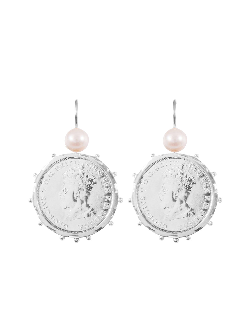 Fiorina Jewellery Silver Encased Parliament Earrings Pearl Highlights