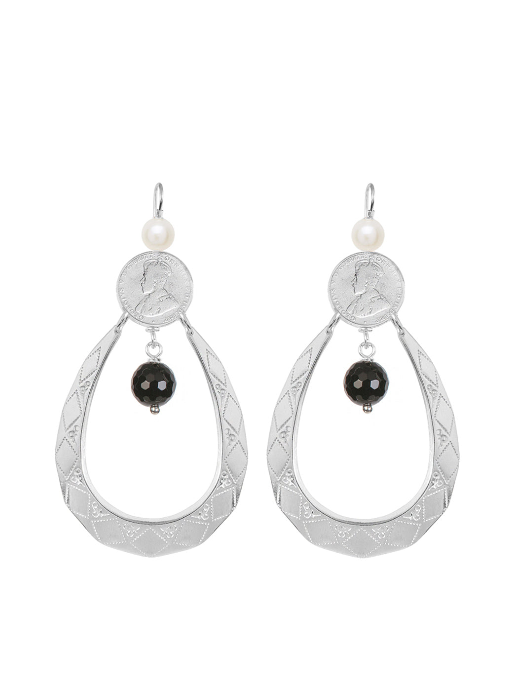 Fiorina Jewellery Sugar Drop Earrings Black Onyx & Pearl