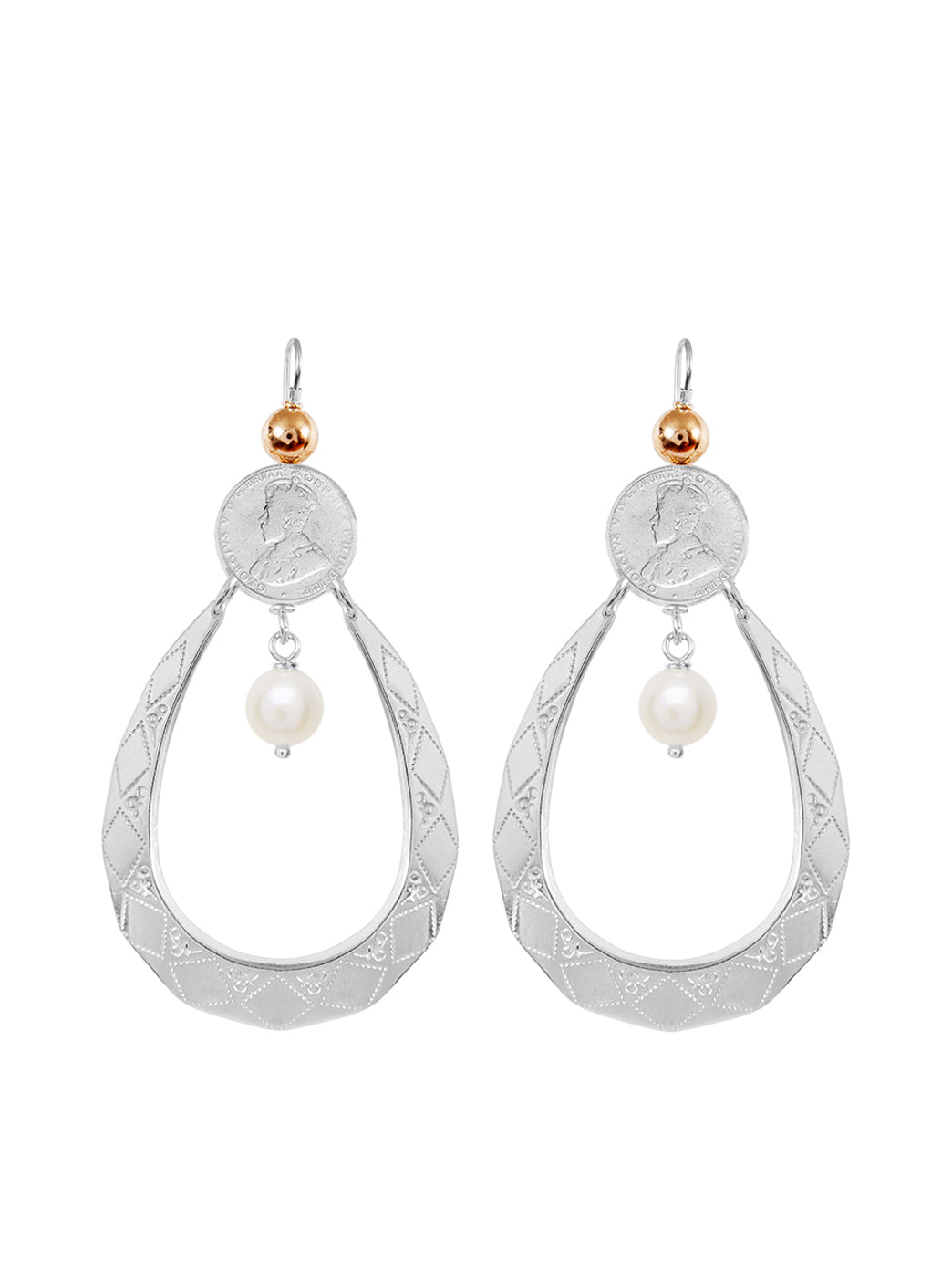 Fiorina Jewellery Sugar Drop Earrings Pearl & Gold