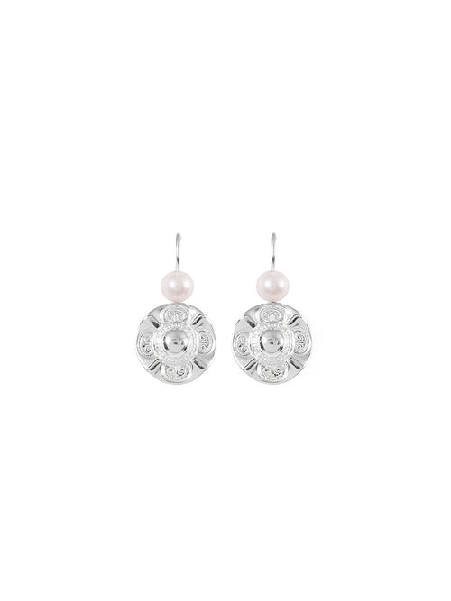 Fiorina Jewellery Simple Vic Disc Earrings Pearl