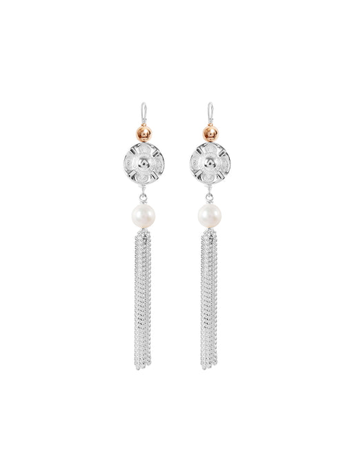 Fiorina Jewellery Vic Disc Tassel Earrings Pearl