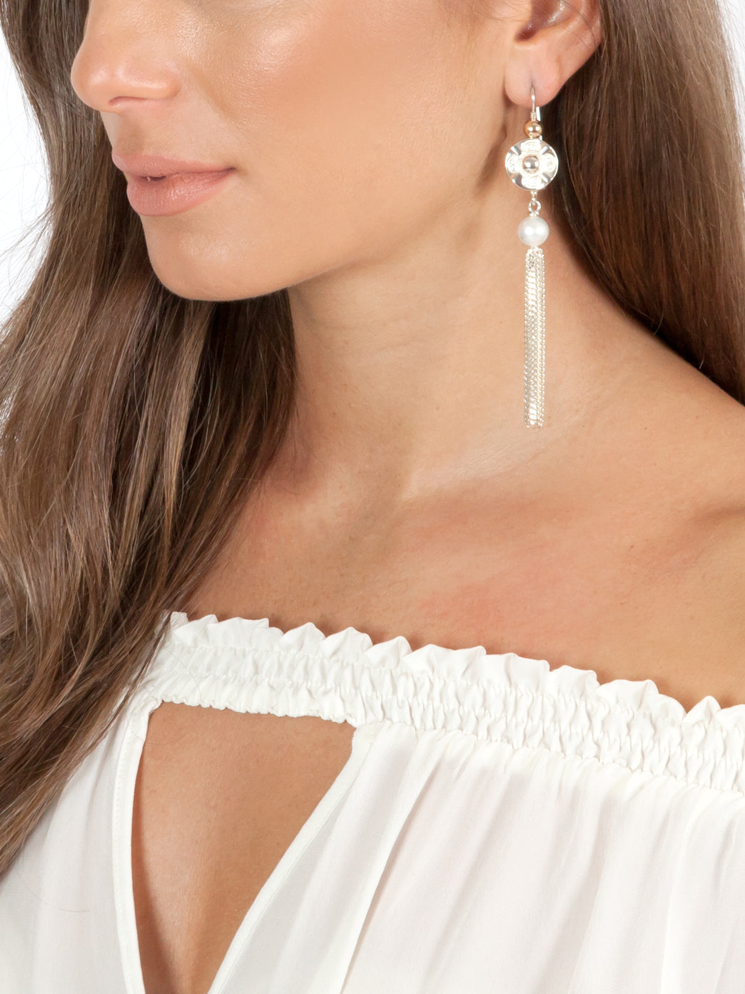 Fiorina Jewellery Vic Disc Tassel Earrings Model