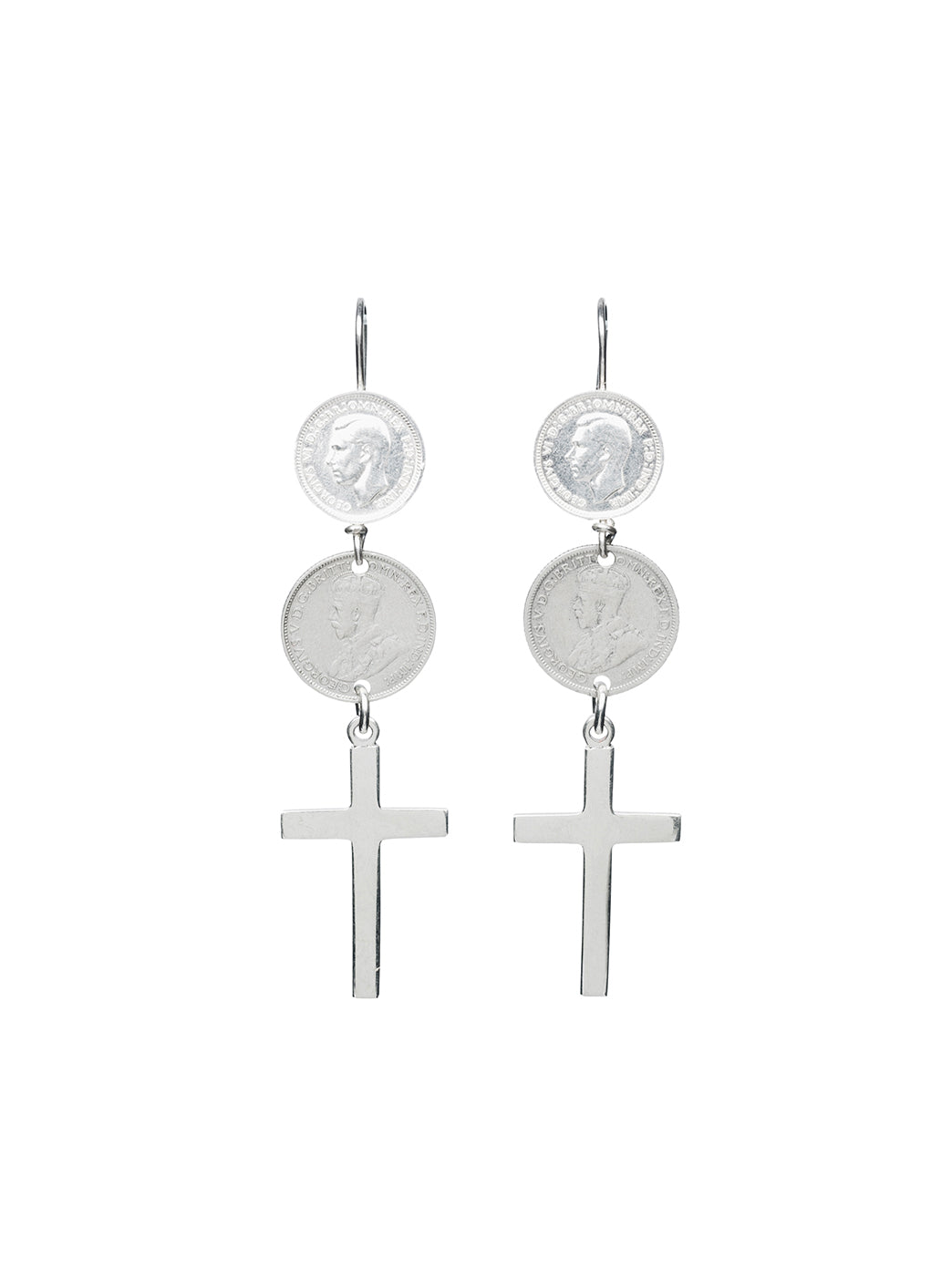Fiorina Jewellery Double Coin Cross Earrings