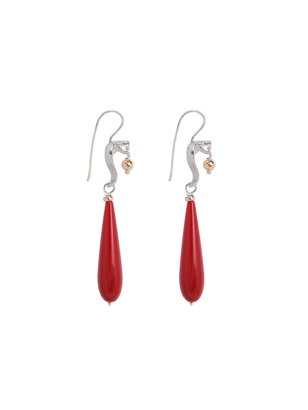 Fiorina Jewellery Medusa Cobra Earrings Red Coral Side View