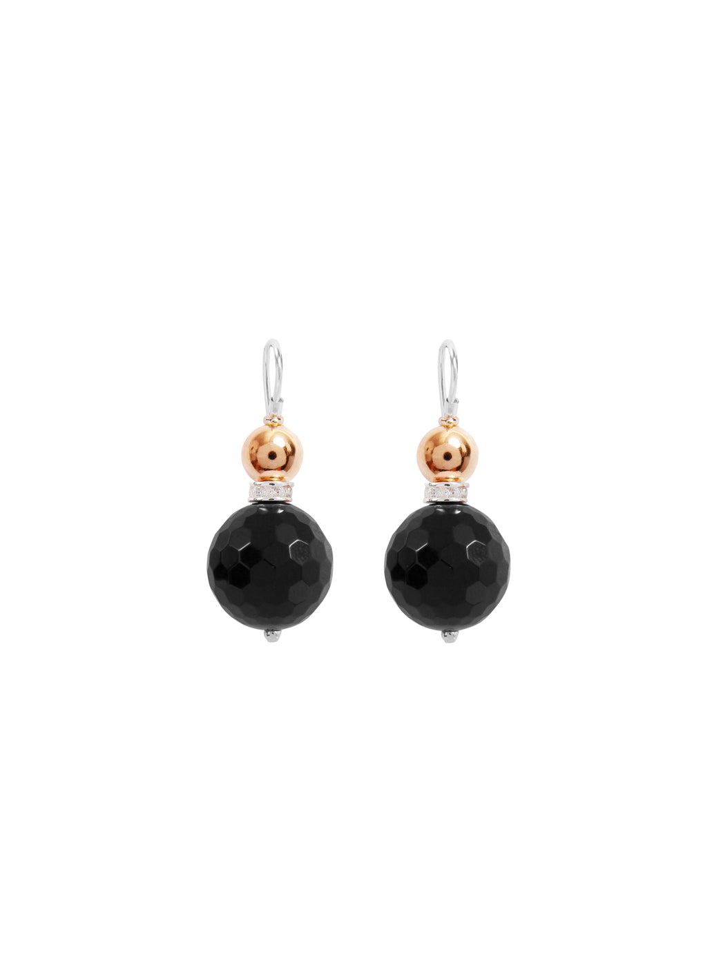 Fiorina Jewellery Double Ball Earrings Black Onyx