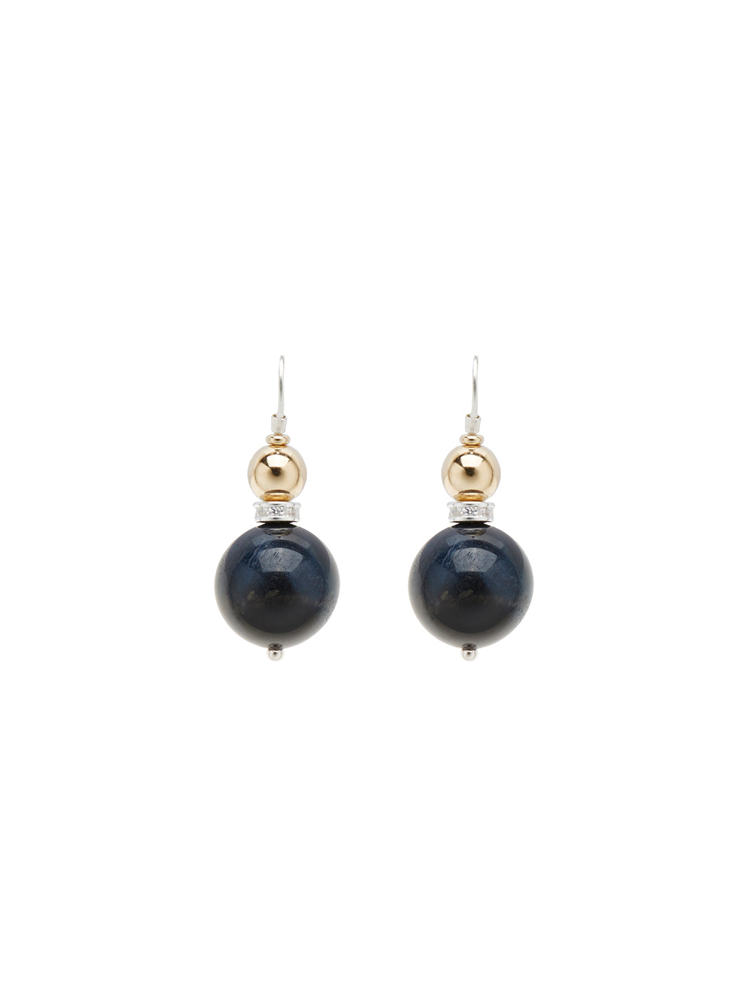 Fiorina Jewellery Double Ball Earrings Navy