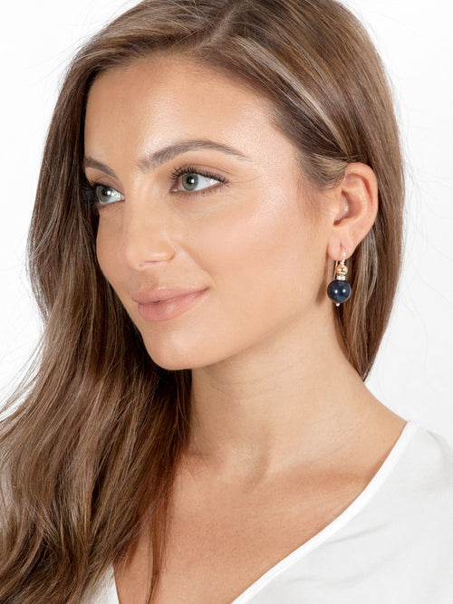 Fiorina Jewellery Double Ball Earrings Sodalite Model