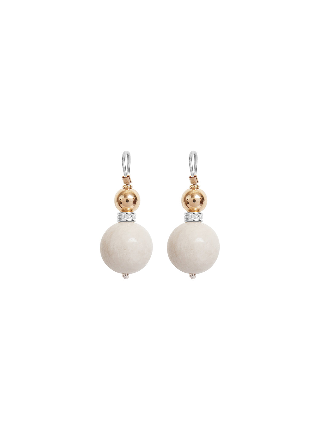 Fiorina Jewellery Double Ball Earrings White Amazonite