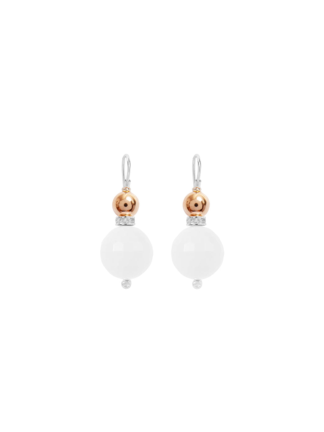 Fiorina Jewellery Double Ball Earrings White Howlite