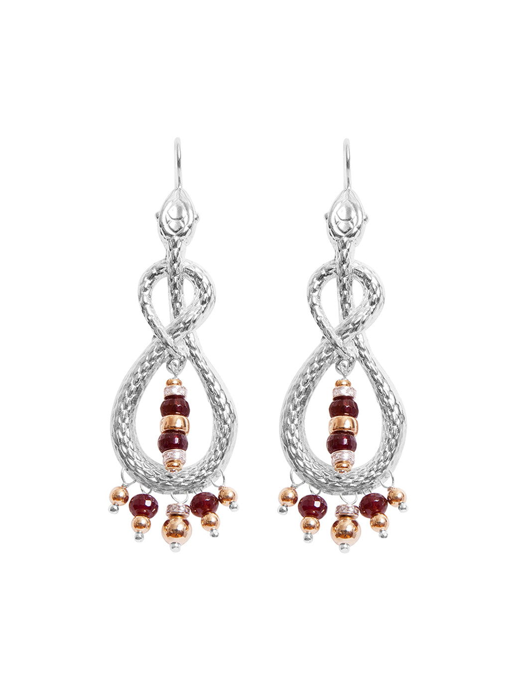 Fiorina Jewellery Serpente Earrings Garnet & Gold