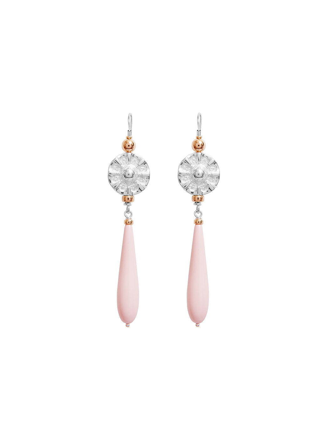 Fiorina Jewellery Elite Vic Disc Drop Earrings Pink