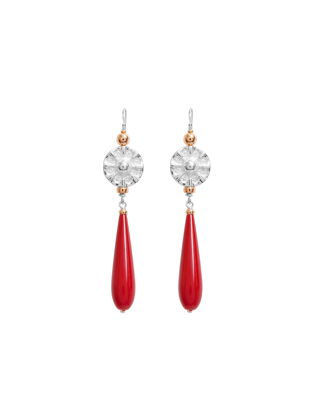Fiorina Jewellery Elite Vic Disc Drop Earrings Red Coral
