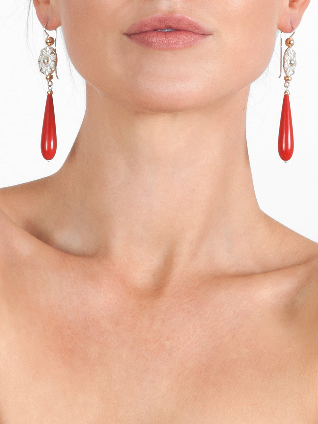 Fiorina Jewellery Elite Vic Disc Drop Earrings Red Coral Model