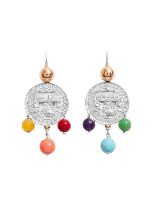 Fiorina Jewellery Monster Mid-Coin 3 Drop Earrings Chakra