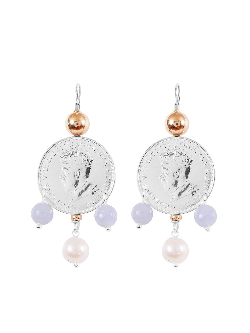 Fiorina Jewellery Monster Mid-Coin 3 Drop Earrings Chalcedony