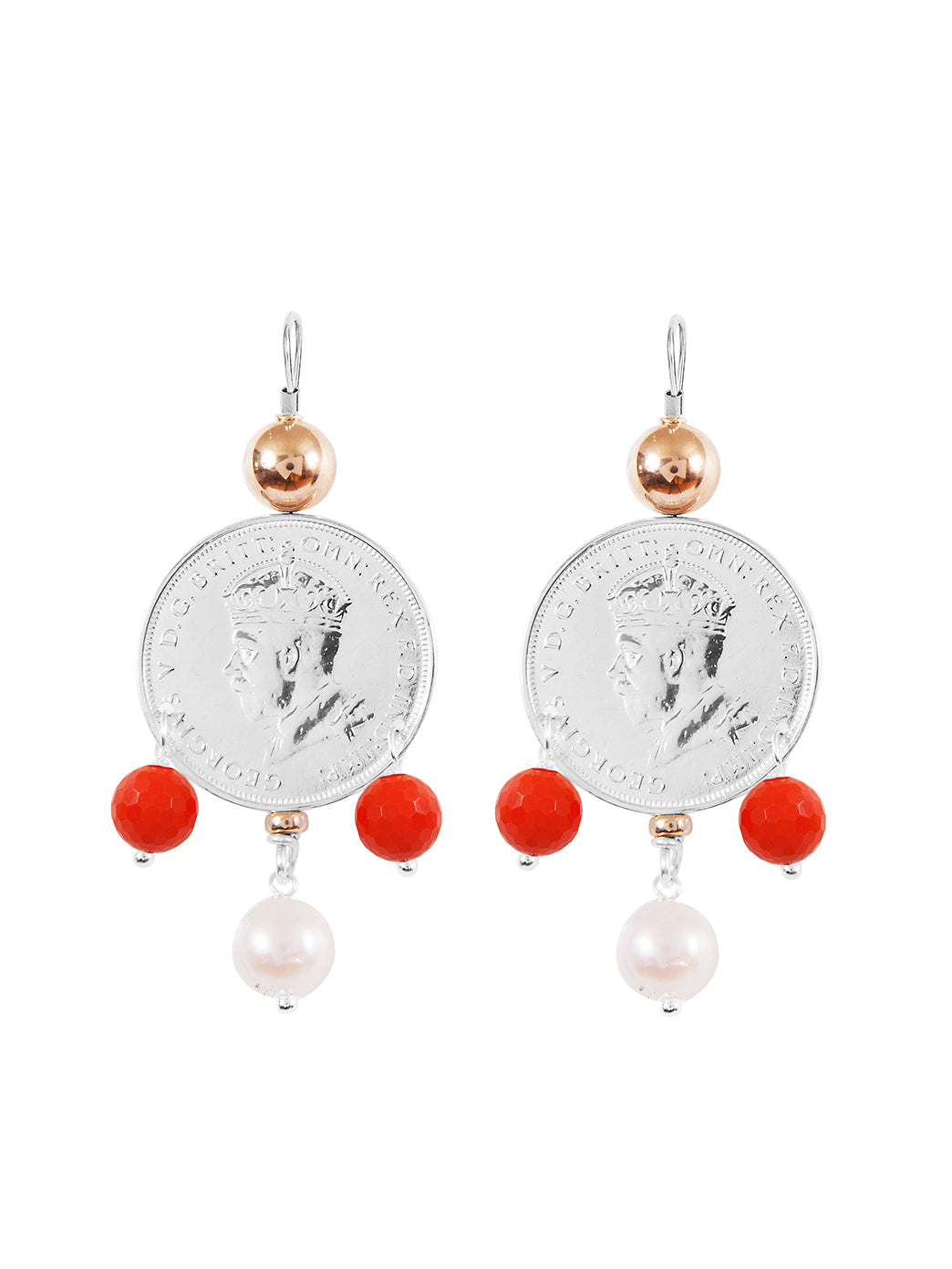 Fiorina Jewellery Monster Mid-Coin 3 Drop Earrings Coral