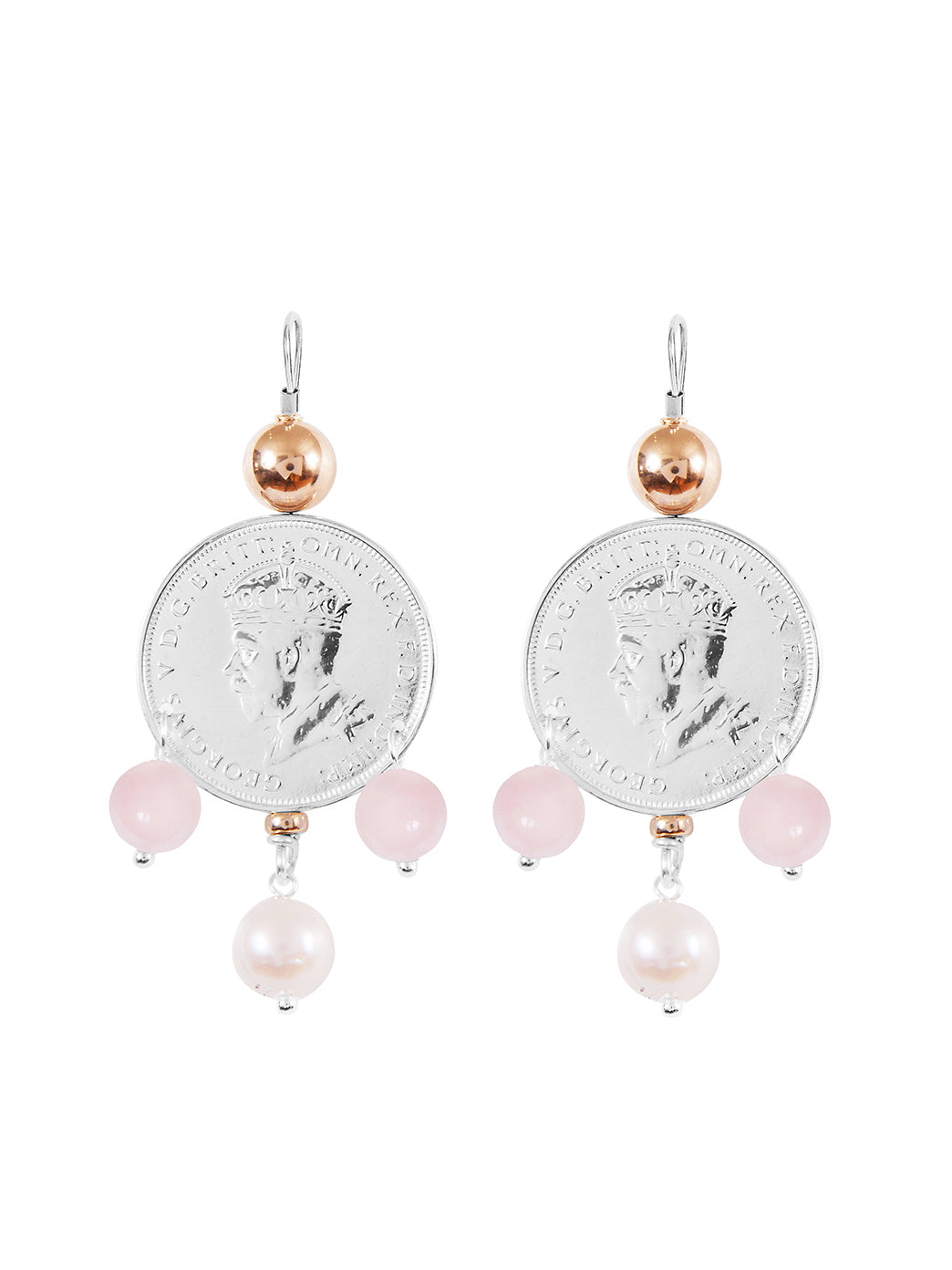 Fiorina Jewellery Monster Mid-Coin 3 Drop Earrings Pink Opal